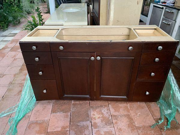 Kitchen or bathroom brown cabinets