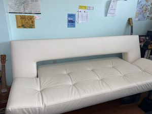 White Leather futon couch for Sale in Coral Springs, FL
