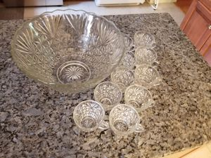 Crystal Punch Bowl and Cups for Sale in Rockville, MD
