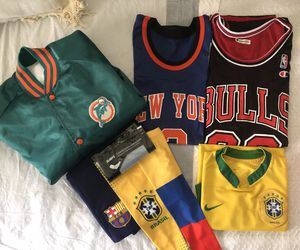 Sports Bundle (Basketball Jersey, Soccer Jersey, Varsity Jacket, Accessories, etc.) for Sale in Miami, FL