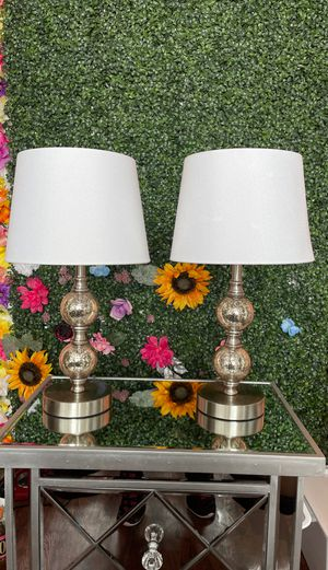 2 frosted mirror/sliver lamps with shades included for Sale in Washington, DC