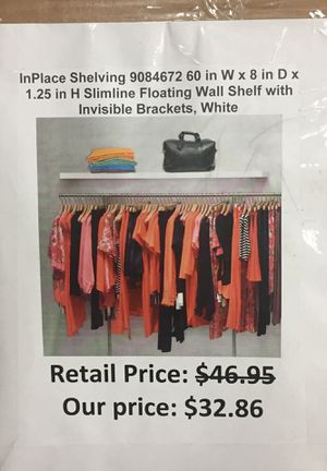 In place shelving slim line floating wall shelf with invisible brackets for Sale in San Leandro, CA
