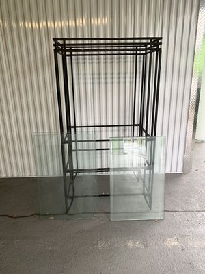 Tv Stand / Iron + Glass Shelves for Sale in Atlanta, GA