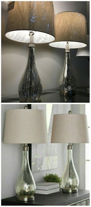 """New in box 2 pack stylecraft mercury glass table elegant 29"""" tall table lamps with natural shade lamp for Sale in Pico Rivera, CA"""