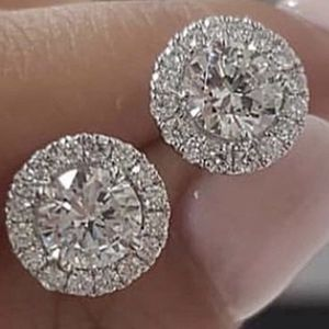 1.25ct Round Moissanite White Diamond Halo Brilliant cut Stud earring 18 karat white gold plated Bridal wedding engagement jewelry for Sale in Perris, CA