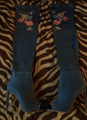 Medium blue denim stretchy thigh high open toe boots for Sale in Detroit, MI