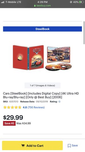 Disney movie cars limited edition dvd for Sale in Los Angeles, CA