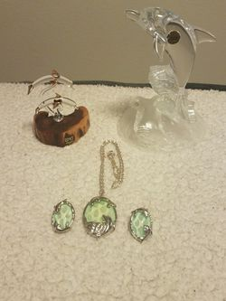Dolphin Collection Glass Figurines Necklace Earrings for Sale in Snohomish,  WA