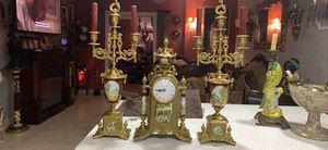 Antique imperial clock and candelabras set bronze and porcelain for Sale in Medley, FL