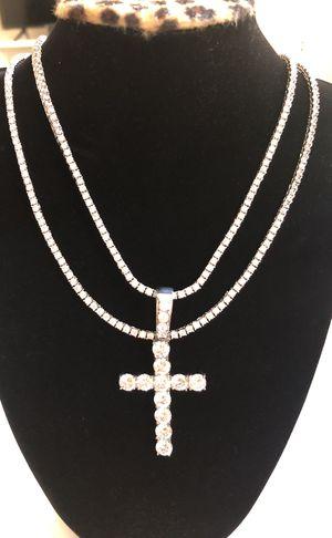 Diamond Tennis Chain & Cross Pendant for Sale in San Diego, CA