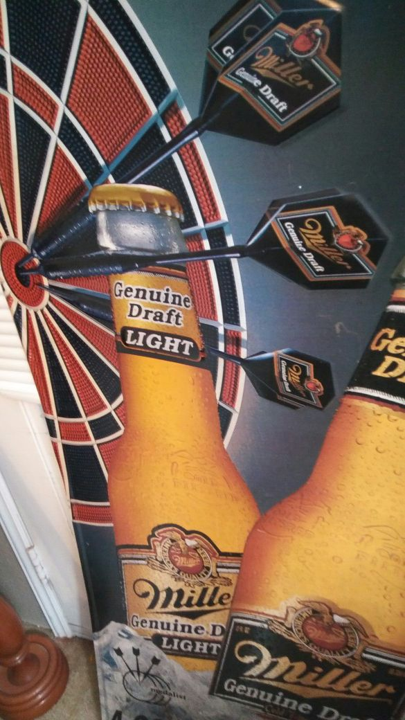 Three Large Miller Brewing Co. Genuine Draft metal wall signs