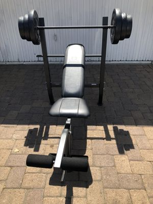 Bench press with Barbell and 100 lb Weight Set brand new all included for Sale in Montebello, CA