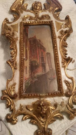 Gilded antique mirror frame, 19th century. Mirror has been repaced by painting of Venice. HAS NOT BEEN APPRAISED.!! for Sale in Garner, NC