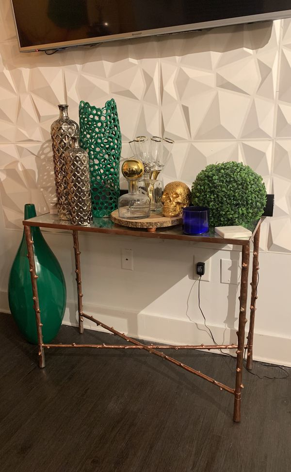 Rose gold console table