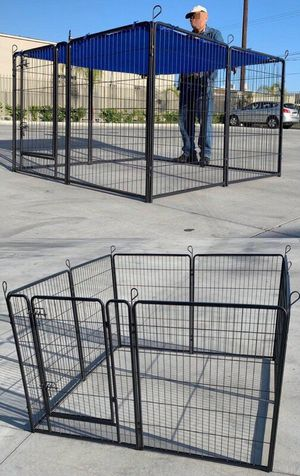 """New 48"""" Tall x 32"""" Wide Panel Heavy Duty 8 Panels Dog Playpen Pet Safety Fence Adjustable Shape and Space with Sunshade Tarp Canopy Cover for Sale in Pico Rivera, CA"""