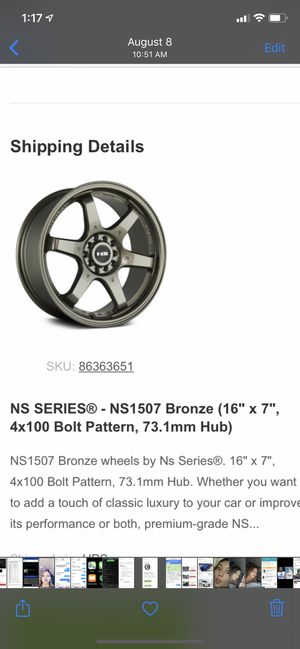 """NS SERIES rims (16"""" x 7"""") for Sale in Fontana, CA"""