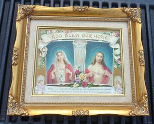 """Sacred Heart Jesus and Mary Litho God Bless Our Home in Frame 14"""" x 12"""" for Sale in Orlando, FL"""
