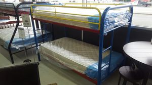 RAINBOW BUNK BED FRAME - METAL FRAME - TWIN OVER TWIN - for Sale in Portland, OR