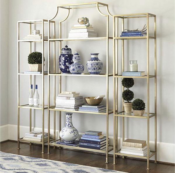 Designer Brass Gold Glass Etagere Bookshelf (2 available)