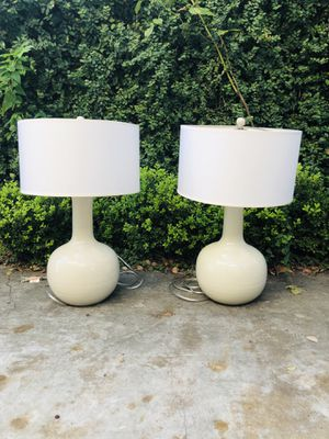 Pair of EUC Greyish Ceramic Table Lamps for Sale in Houston, TX