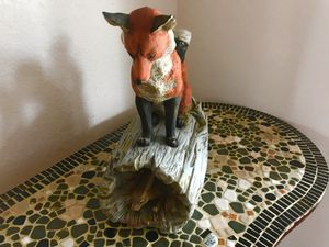 Red Fox On Log Looking At Rabbit Figure for Sale in Vienna, MO