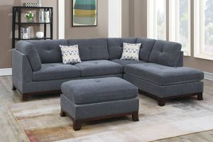 ASH GREY SECTIONAL SOFA AND OTTOMAN WITH ACCENT PILLOWS for Sale in Chino, CA