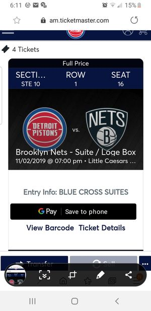 4 Suite pistons tix food and drink free for Sale in Taylor, MI