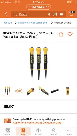 DEWALT 1/32 in., 2/32 in., 3/32 in. Bi-Material Nail Set (3-Piece) for Sale in Takoma Park, MD