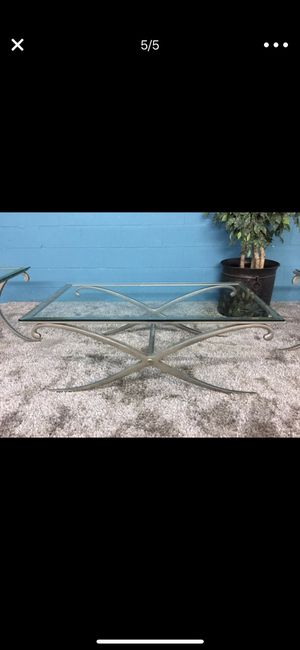 Coffee tables, two end tables. High quality. Very heavy metal and thick glass! for Sale in Atlanta, GA