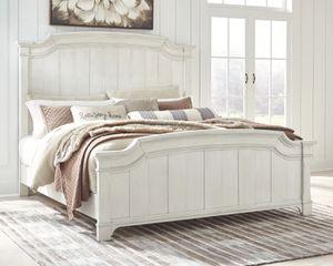 Nashbryn - Whitewash - 7 Pc. - Dresser, Mirror, Queen Panel Bed, 2 Nightstands for Sale in Naples, FL