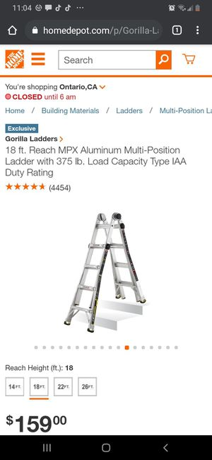 Gorilla Ladders 18 ft. Reach MPX Aluminum Multi-Position Ladder with 375 lb. Load Capacity Type IAA for Sale in Chino, CA