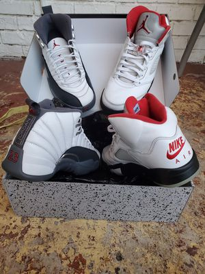 8.5's Jordan 5 retro Fire Red & Jordan 12 retro White/Dark Grey for Sale in Miami, FL