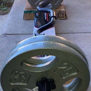 Weights Standard 1 inch Curl Bar & 4x25lb Plates (100lbs) for Sale in West Covina, CA