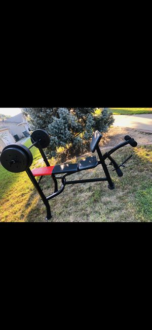 Weight Bench w 80 pounds of weight for Sale in Visalia, CA