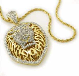 18K Gold Out Iced CZ Tiger King Lion Stainless Steel Rope Chain Pendant Necklace for Sale in Los Angeles, CA
