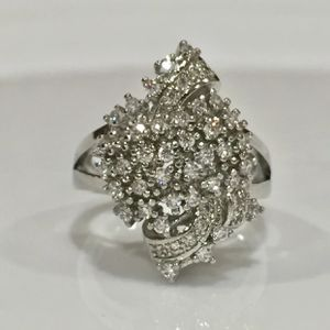 Silver cluster stimulated diamonds ring women's jewelry wedding engagement casual ring for Sale in Silver Spring, MD