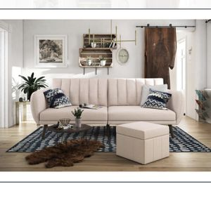 {NEW} Novogratz Brittany Sofa Futon, Premium LinenUpholstery & Wooden Legs-Pink Linen-Delivery Available for Sale in Columbus, OH