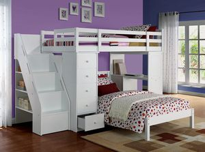 JUST $50 DOWN GETS YOU APPROVED FOR New Freya white loft bunk bed with desk for Sale in Miami, FL