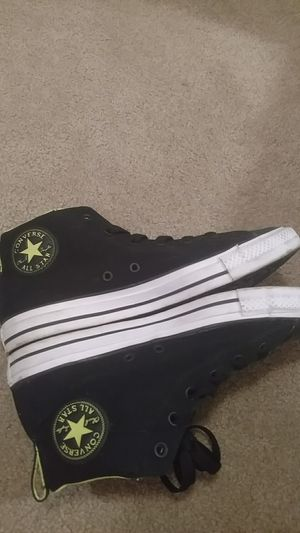 Black exterior and Neon Interior converse hightops for Sale in Sterling, VA