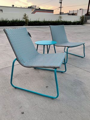 New in box Grand Patio 3 pc all weather rattan blue color chair size 25x28x30 inch tall table 18x18x18 inches tall furniture set for Sale in Los Angeles, CA