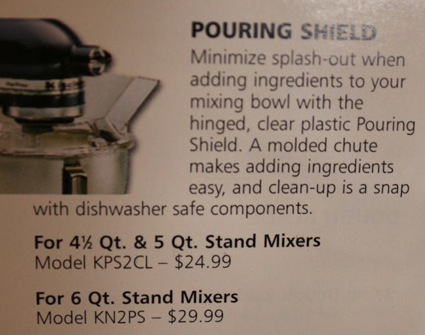 Kitchen Aid Pouring Shield Stand Mixer Accessory