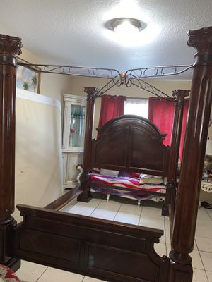 Queen bed frame and two night stand marble mattress for Sale in Miami, FL