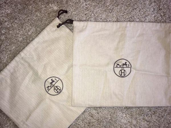 Authentic Hermès Herringbone Drawstring storage dust bag