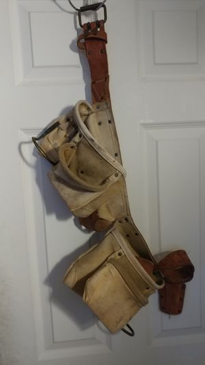 Construction tool bag with Carpenter belt and Husky flashlights.. for Sale in Boston, MA