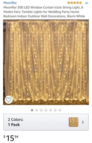 Moonflor 300 LED Window Curtain Icicle String Light, 8 Modes Fairy Twinkle Lights for Wedding Party Home Bedroom Indoor Outdoor Wall Decorations, War for Sale in Garden Grove, CA