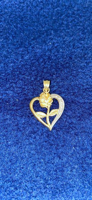 14 k heart & rose pedant for Sale in Montebello, CA