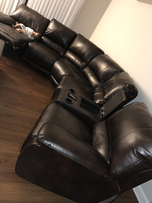 Leather sectional couch. for Sale in Arlington, VA
