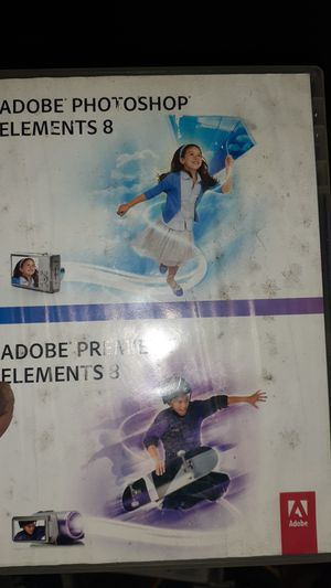 2 for 1 Adobe Photoshop Elements 8 & Adobe Premier Elements 8 with Keys for Sale in Portland, OR