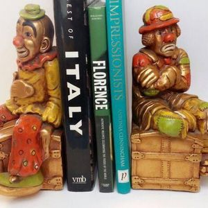 2 LARGE MID CENTURY ART 1972 CLOWN BOOKENDS GALLERY CONDITION for Sale in Vernon, CA