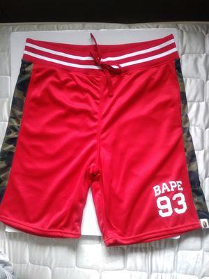 A BATHING APE Bape 93 Era Kaws WGM Basketball Jersey RED Green Camo Sweat Shorts for Sale in Rosemead, CA